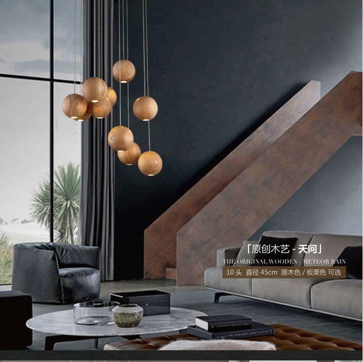 eetkamer drie single hoofd hout houten lamp in massief houten ...