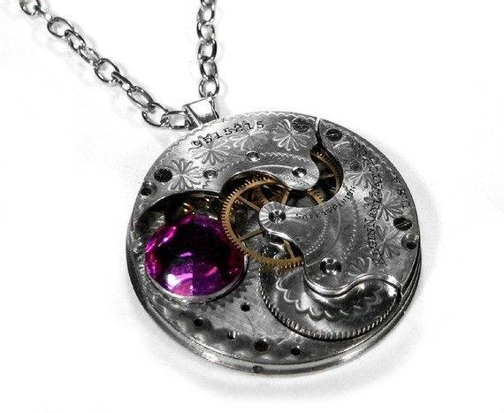 Steampunk Jewelry Necklace Vintage Etched Silver Pocket Watch Pendant - Pink Swarovski Statement Necklace - Steampunk Jewelry by edmdesigns