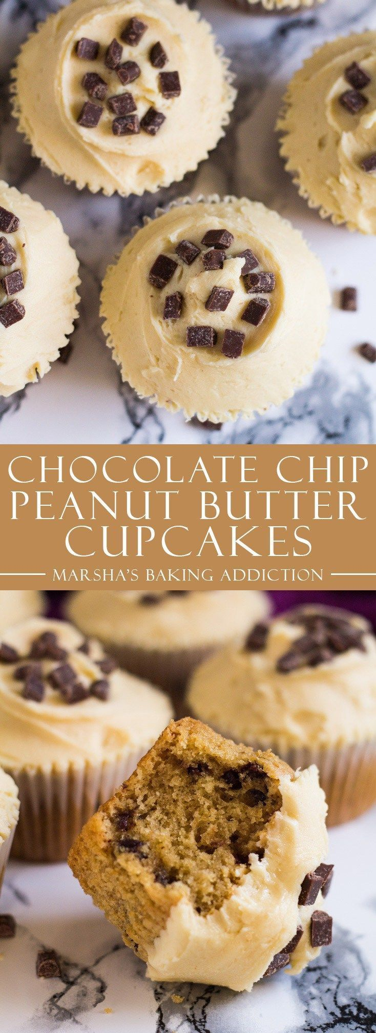 Chocolate Chip Peanut Butter Cupcakes | http://marshasbakingaddiction.com /marshasbakeblog/