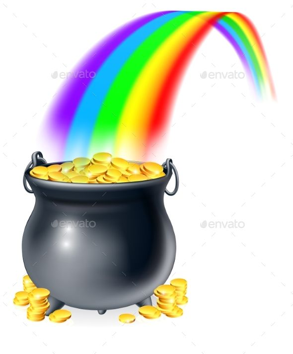 Pot Of Gold At The End Of The Rainbow Pot Of Gold Gold Drawing Rainbow