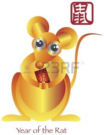 Chinese New Year of the Rat Zodiac with Chinese Rat and Red Packet Prosperity Text Illustration photo