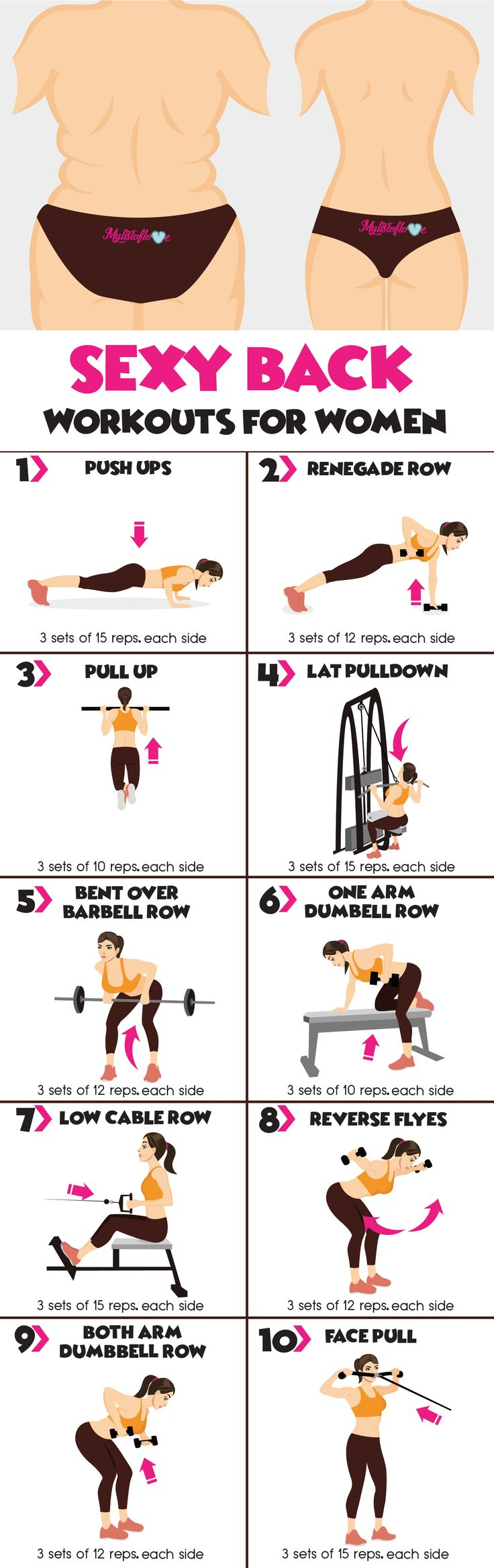 10 Sexy Back Workouts For Women... diet workout back fat