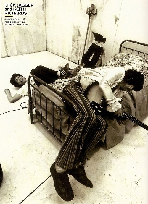 Mick Jagger and Keith Richards- On a video shoot in 1978-by Michael Putland