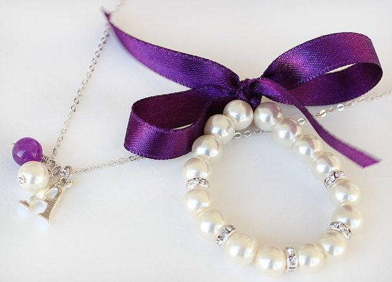 Flower girl jewelry set pearl bracelet necklace by asteriasbridal, $15.00