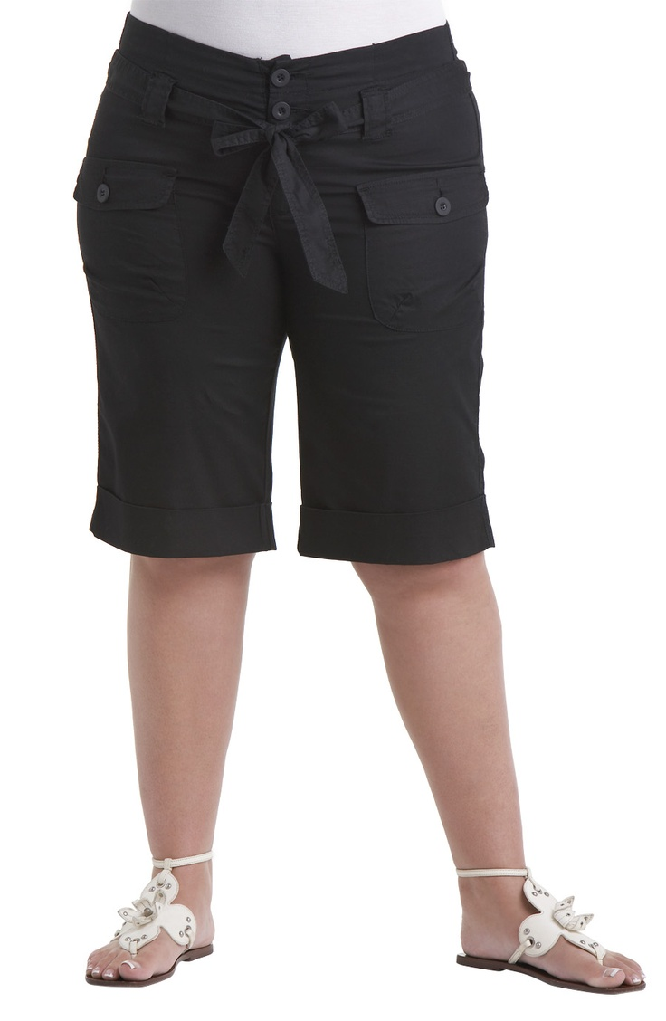 Knee length short with cuffs/Black          Style No: SH001    Stretch cotton  knee length short with cuffed hem and 3 button front.    This little short has lots of little utility pockets and a self tie belt. #fashion #plussize #2013