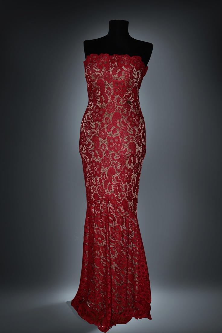 red lace dress by Barrochia