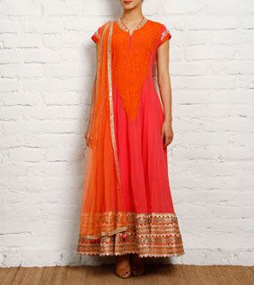 Salmon and Orange Georgette Anarkali Suit