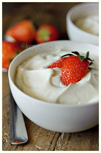 """""""Hangop"""" is a really authentic, Old-Dutch dessert recipe. It's a very soft, creamy & rich dessert. Only 5 recipes.  4 cups full-fat yogurt  1 cup heavy or whipping cream  5 tbsp sugar (or more)  1 large vanilla bean  fruit or nuts for topping"""