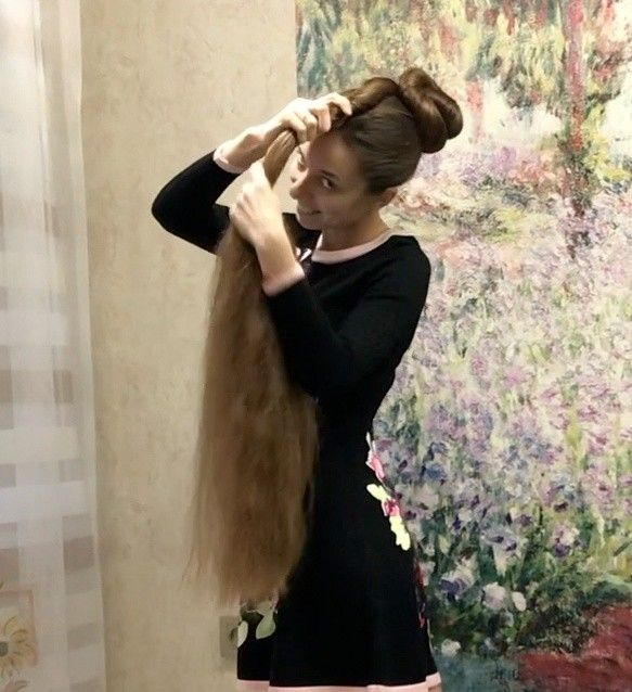 Video Massive Buns And A Beautiful Dress In 2020 Long Hair Styles Long Hair Girl Bun Hairstyles For Long Hair