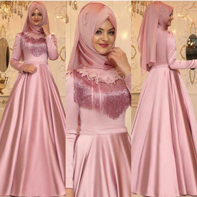 Tafta Ve Saten Abiye Modelleri Siklik Konusunda Diger Kumaslara Gore Daha Iyidir Kumasin Parla Muslim Women Fashion Turkish Wedding Dress Muslim Wedding Gown
