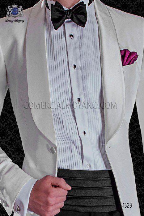 Italian white tuxedo with satin shawl collar. Tuxedo Black Tie 1529 Collection Ottavio Nuccio Gala