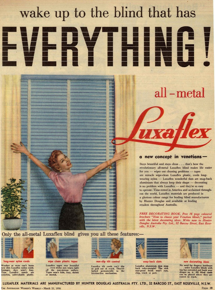 Luxaflex ad from The Australian Women's Weekly - March 21, 1956