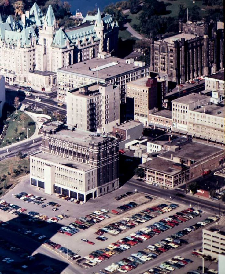 Saturday Shopping, with an aerial showing site of the future site of the Rideau Mall in 1974. That brown building on the left with the odd white addition on the back is the old Ottawa postal terminal. Made sense there, when the tracks led right up to it.