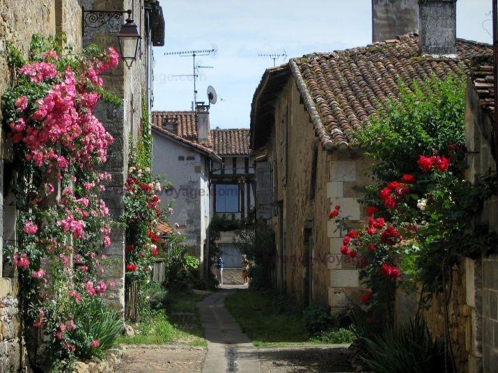 Saint-Jean-de-Côle: Ruelle du village bordée de maisons aux façades décorées de rosiers grimpants. Département de la Dordogne- Région Aquitaine- France