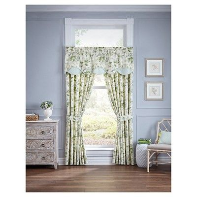 Waverly Curtain Panel Pair Green/Ivory/Yellow Floral