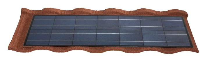 Metrotile Lightpower steel roof tiles, a first, incorporating the eco-friendly lightweight steel roof systems with solar panels.