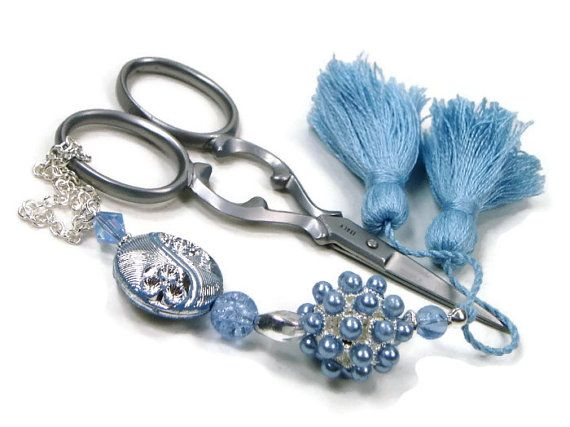 Scissor Fob Baby Blue Silver Beaded Cross Stitch by TJBdesigns