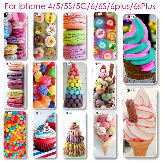 Caja del teléfono para el iphone 4 4S 5 5S 5C 6 6 S 6 más 6 Splus caliente helado de postre Macarons dulce relieve de tapa dura impresión UV