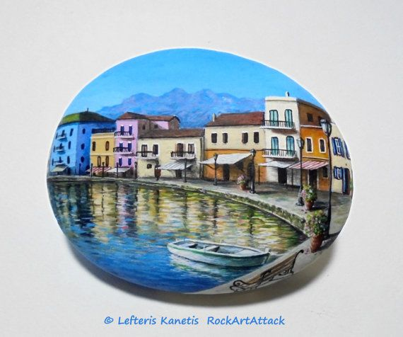Painted  Rock With The Old Venetian Harbour In Chania,Crete,Greece! Painted with  Acrylic paints and finished with Glossy varnish protection