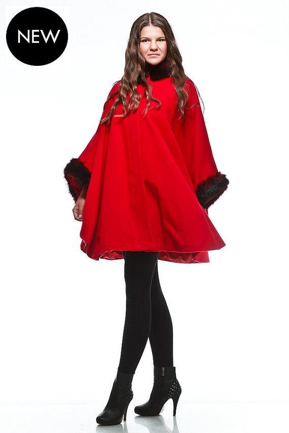 Red cape coat / wool cape coat / cashmere cape coat by VIEMAstore