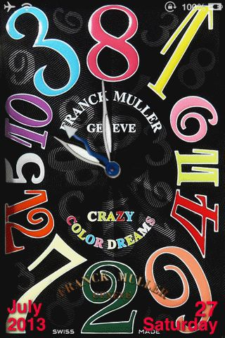 CrazyHours – iPhoneのロック画面を高級時計「Franck Muller Crayzy Color Dreams」風にするテーマ | Will feel Tips