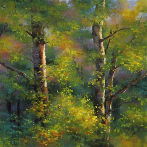 """https://www.facebook.com/MiaFeigelson """"Two alders"""" By Phil Bates, from Roseburg, Oregon, US (b. 1954) - soft pastel on sanded paper, watercolor underpainting - Phil Bates has been painting with soft pastels since 2005 https://www.facebook.com/PRBates"""