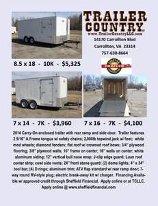 Last 3 Cargo Trailers - Blowing out to make room for other items! 14170 Carrollton Blvd Carrollton, VA  23314