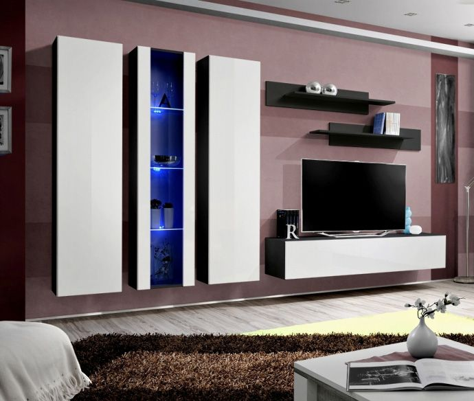 Idea 4 White And Black Tv Wall Unit Entertainment Wall Units