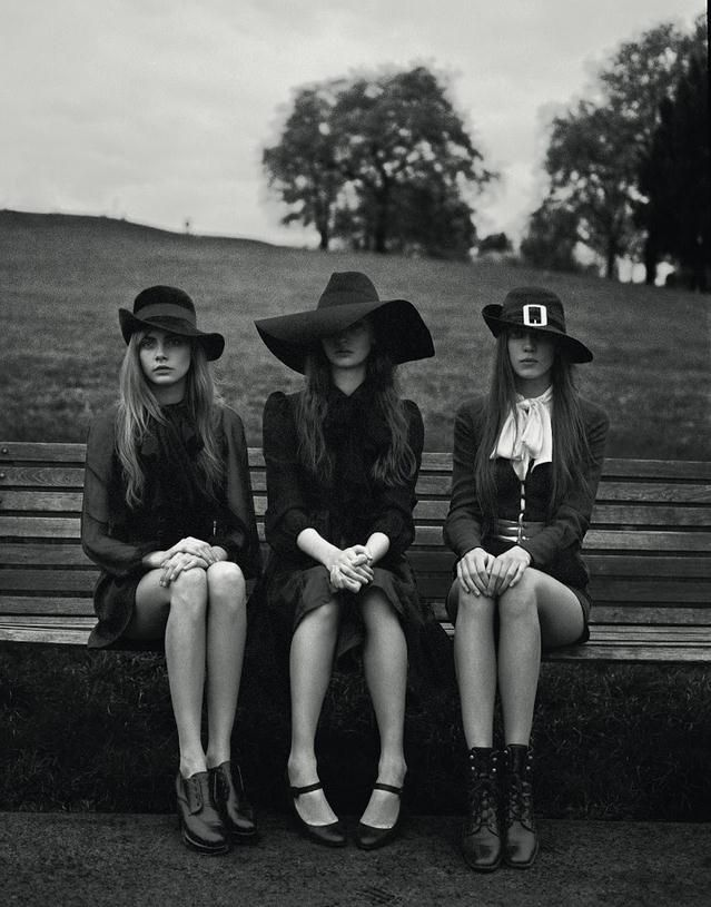 (Cara Delevingne, Codie Young and Charlie Bredal photographed by Richard Bush for i-D, Pre-Spring 2013)