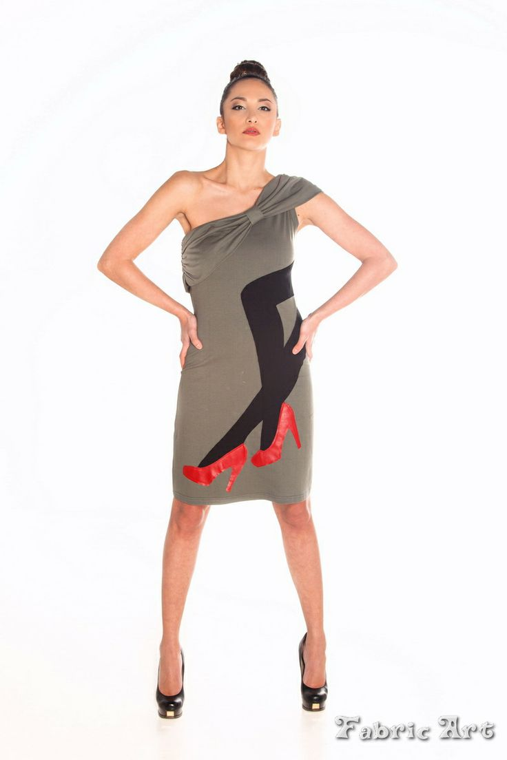 """One shoulder mini dress with large """"bow"""" and handmade applique """"Female Legs"""""""