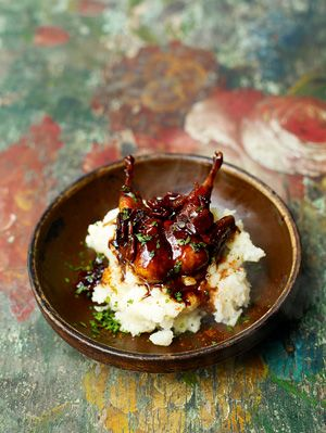 Glazed Quail & Turnip Smash from Jamie Oliver, (love his food).