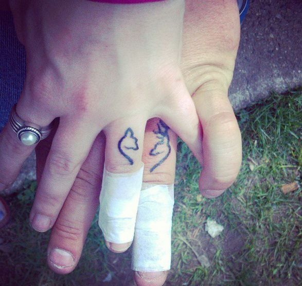 175 best couples tattoos images on pinterest ring finger for Wedding tattoos on fingers
