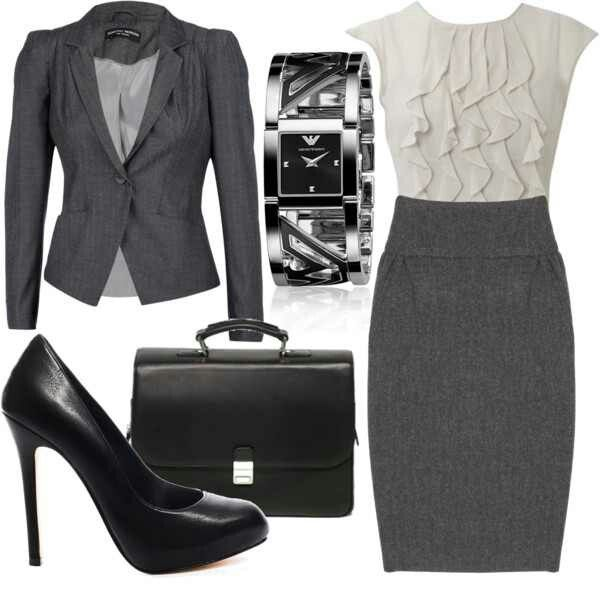 Why it works: A sleeveless dress with skirt of appropriate length, blazer, and heels of an appropriate height are good choices for work (these heels are too high)