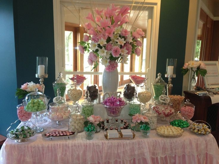 candy bar buffet set ups | Buffet with a vintage feel. This gorgeous candy buffet was set up ...