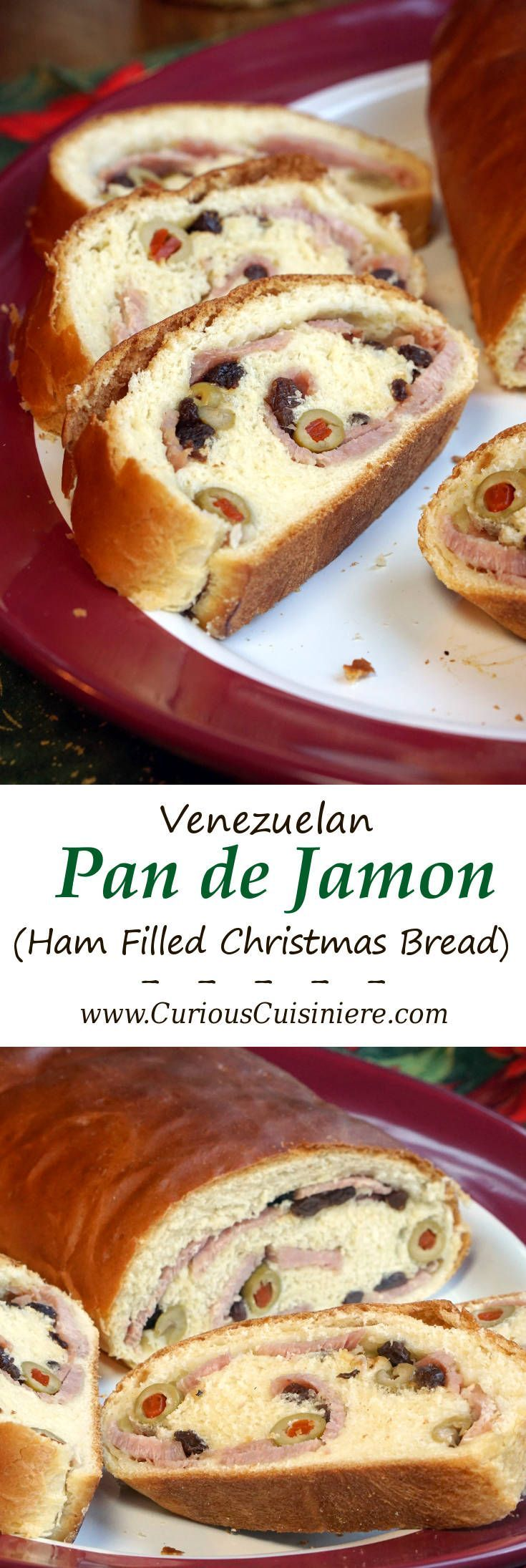 Pan de Jamon is a traditional Venezuelan Christmas bread filled with ham and olives. Its robust flavors are a unique tribute to Venezuelan culture. | www.CuriousCuisiniere.com
