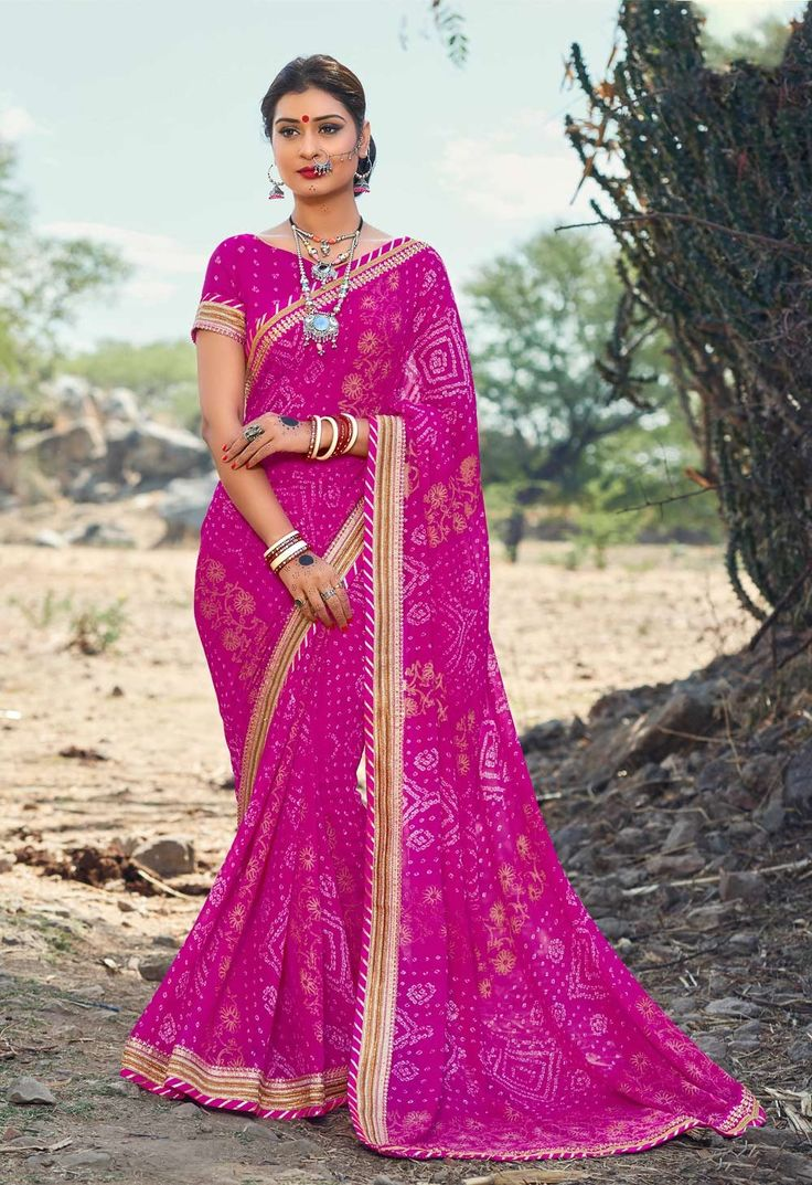 Latest Pink Georgette Bandhani Saree With Golden Lace