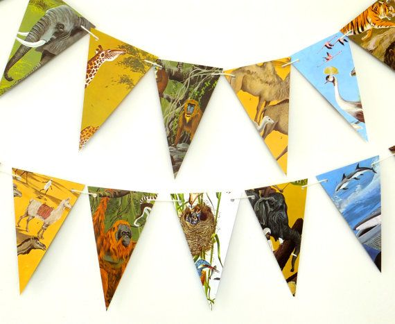 Animals Bunting Animal Garland Recycled Paper by PeonyandThistle