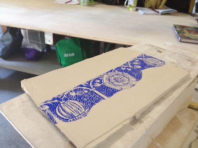 "ELAINE BRADLEY: Printing on clay - Image transfer / ""silk screening"" leather hard clay"