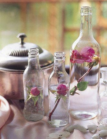 bottle, water, flower, pink