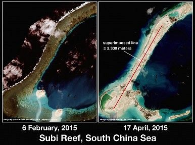 Subi Reef  http://thediplomat.com/2015/04/south-china-sea-chinas-unprecedented-spratlys-building-program/