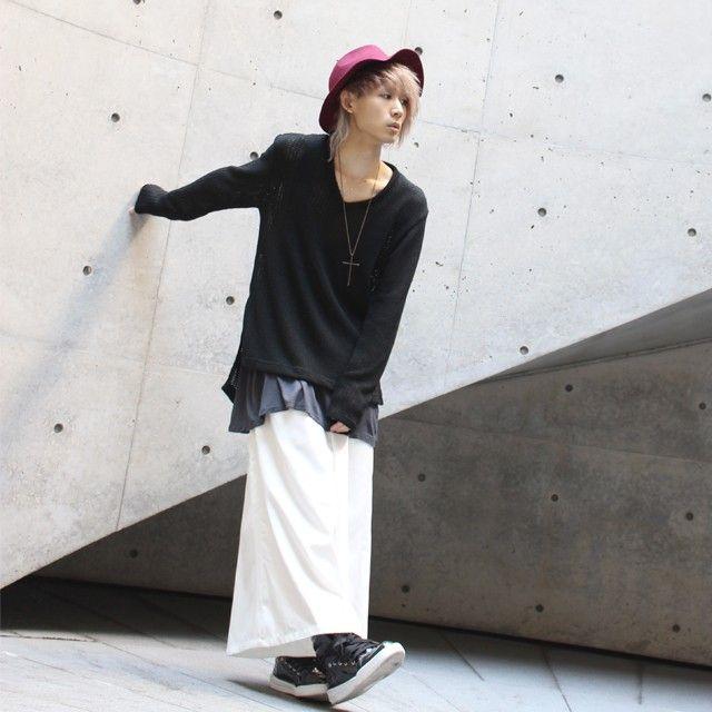 【albino】Vネックロングニットソー - メンズスカートなどモード系ファッションの通販 albino