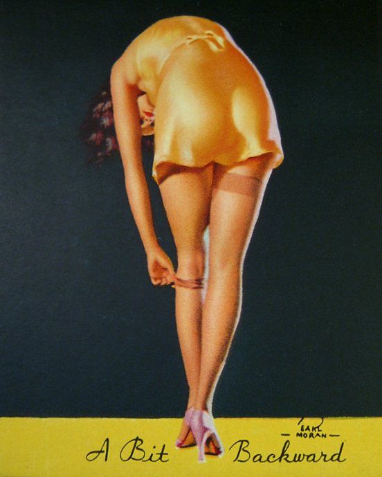 "redbimbo: "" ""A Bit Backward"", Earl Moran 1936 (advertisement for Crowder Jr. Co, Easton and Allentown, PA) """