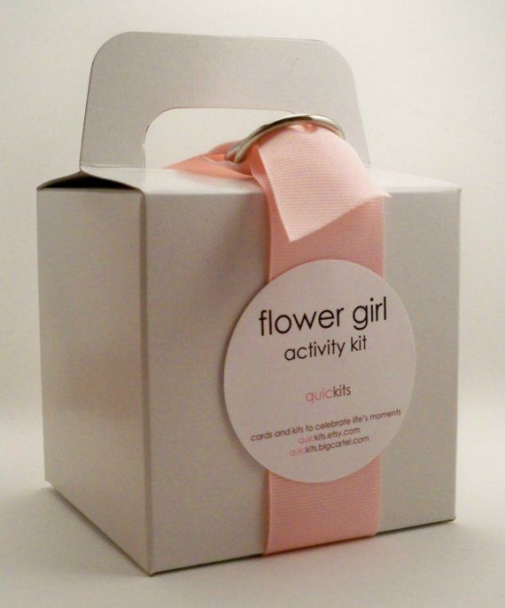 """flower girl kit: the """"flower girl"""" activity kit includes: goldfish crackers, stickers, a wedding activity placemat, crayons, bubbles, lollipops, a napkin & a moist towelette."""
