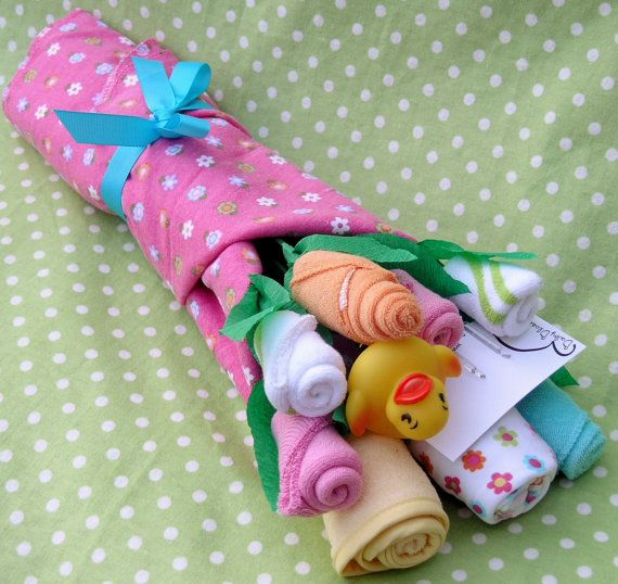 Mini Baby Bouquet for Girls Unique Baby Shower by babyblossomco, $28.00