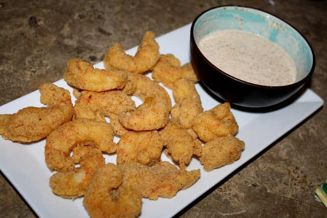 Fried Argentine Red Shrimp & Remoulade |I assembled a remoulade sauce: mayonnaise, creole mustard, chili powder, horseradish, Trappey's hot sauce, and McClure's garlic-dill relish. To tell you the truth, I did this several hours before I made the shrimp - you want to give the sauce plenty of time in the fridge to let the flavors meld together. You could probably even make this a day in advance.