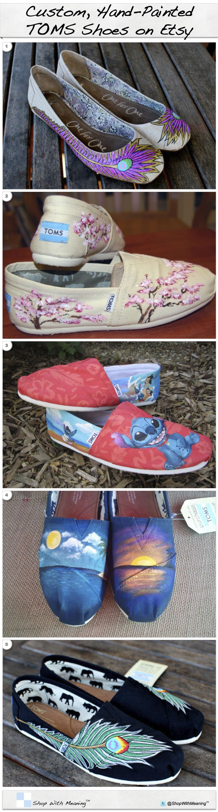 Stunning Hand-Painted, Custom TOMS Shoes featured on http://ShopWithMeaning.org/CustomTOMS #OneforOne