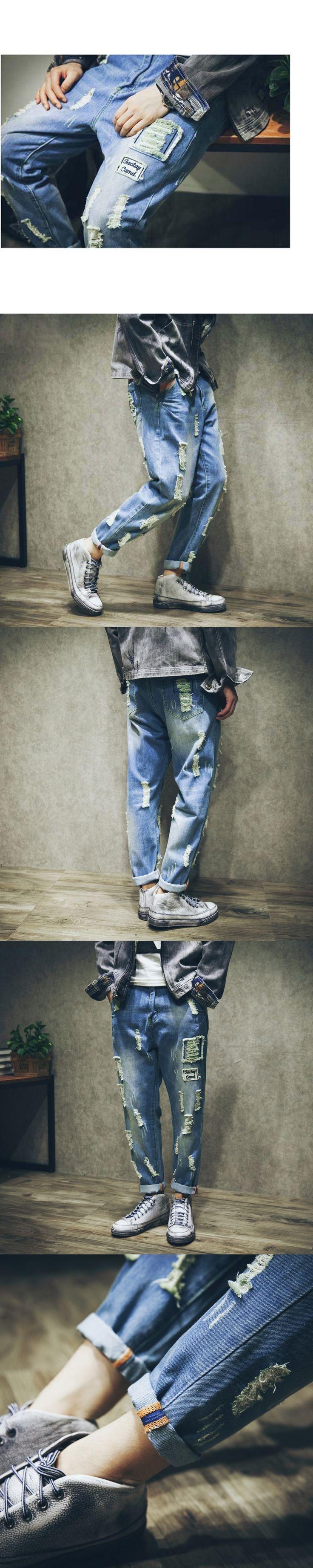 Casual Ripped Jeans For Men Drop crotch Denim Sweatpants Hip Hop Cotton Loose Harem Jeans Plus Size Joggers Trousers 051107