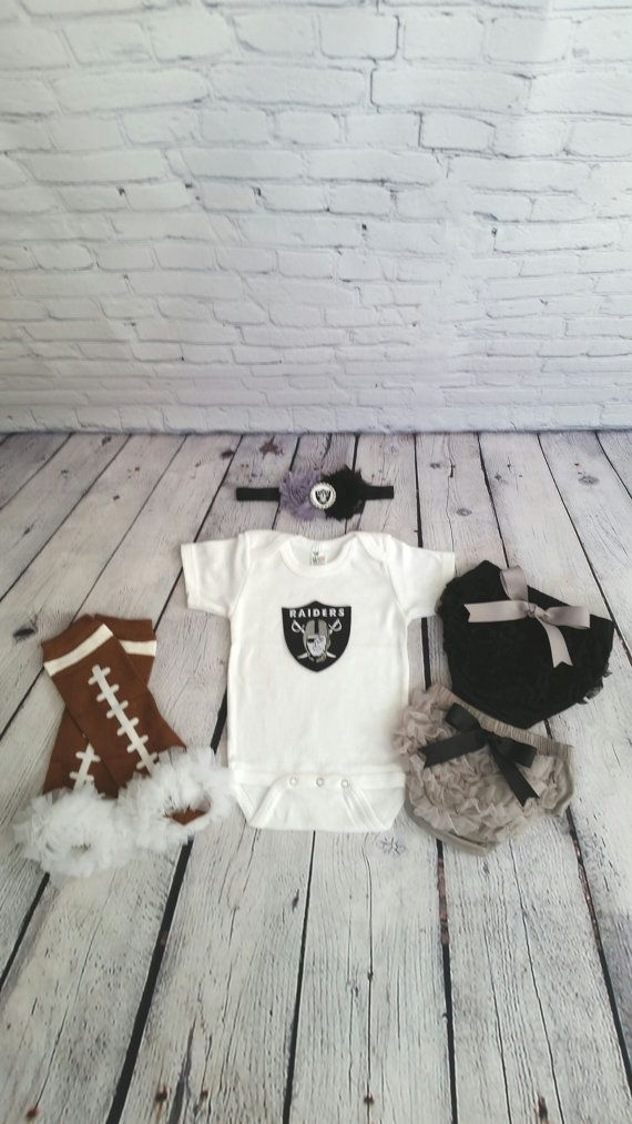 Oakland Raiders baby outfit football leg by cupcakenstudmuffins
