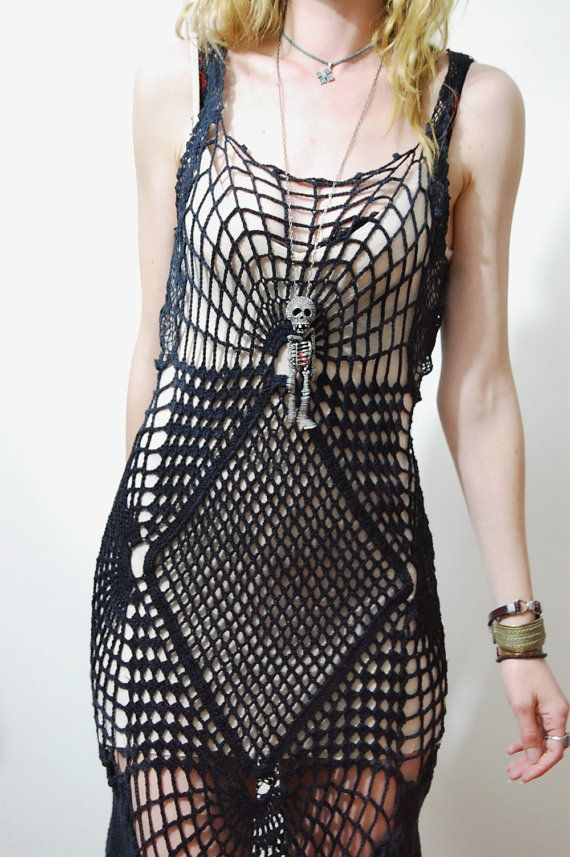 CROCHET DRESS Black Cobweb SPIDERWEB Lace Cotton by cruxandcrow, $389.00