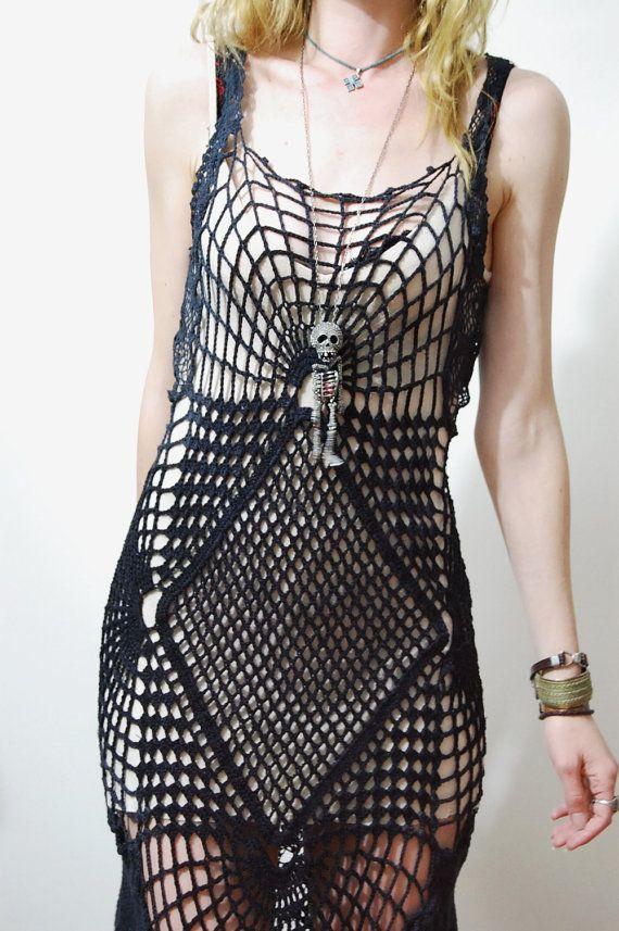 CROCHET DRESS Black Cobweb SPIDERWEB Lace Cotton by cruxandcrow, $389.00